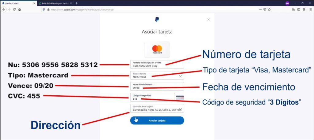 Asociar tarjeta de crédito